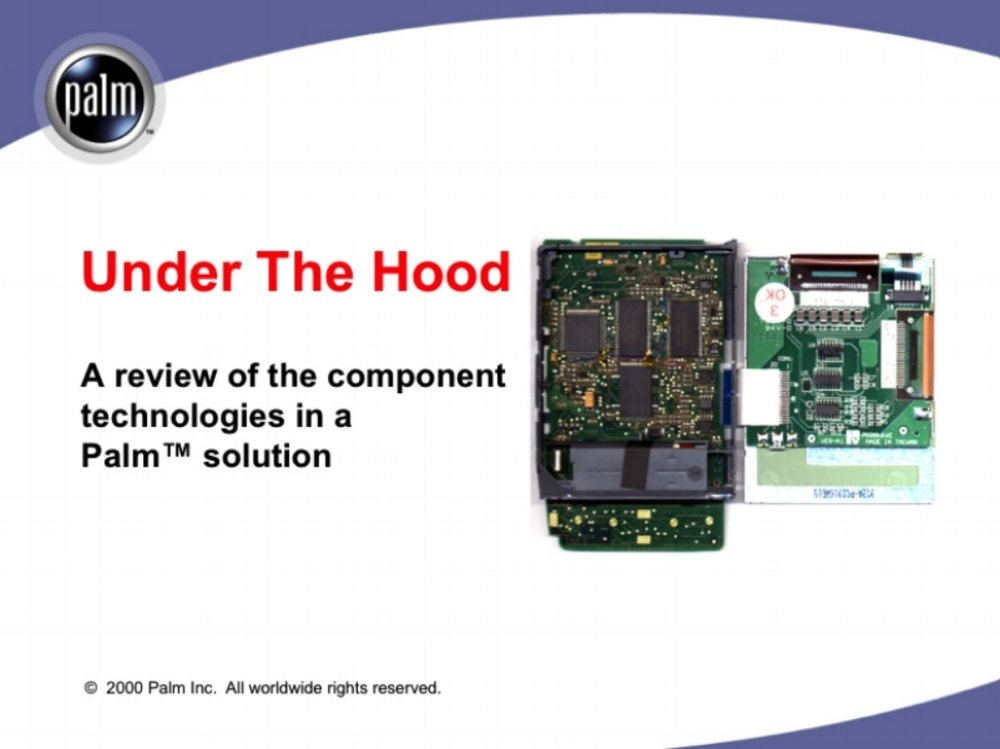 Under The Hood technical training  Palm Computing  Scripted, modular, and navigable technical sales presentation that revealed the power behind Palm's mobile technologies in clear language and simple conceptual diagrams.  The presentation was used by Palm's OEM sales partners including IBM, Symbol Technologies, and Franklin Covey.  Included discussion points for completing enterprise sales and supporting case studies.   Translated into French, German, Spanish, and Japanese.    READ MORE >>