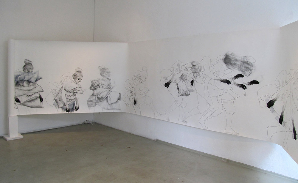 "Hunting for Meaning (Installation view #1) Charcoal, pencil, and oil pastel on paper roll, 60"" x 390"""