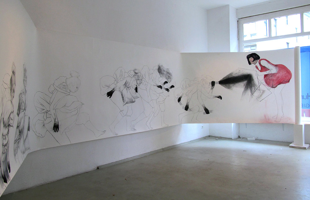 "Hunting for Meaning   (Installation view #2) Charcoal, pencil, and oil pastel on paper roll, 60"" x 390"""
