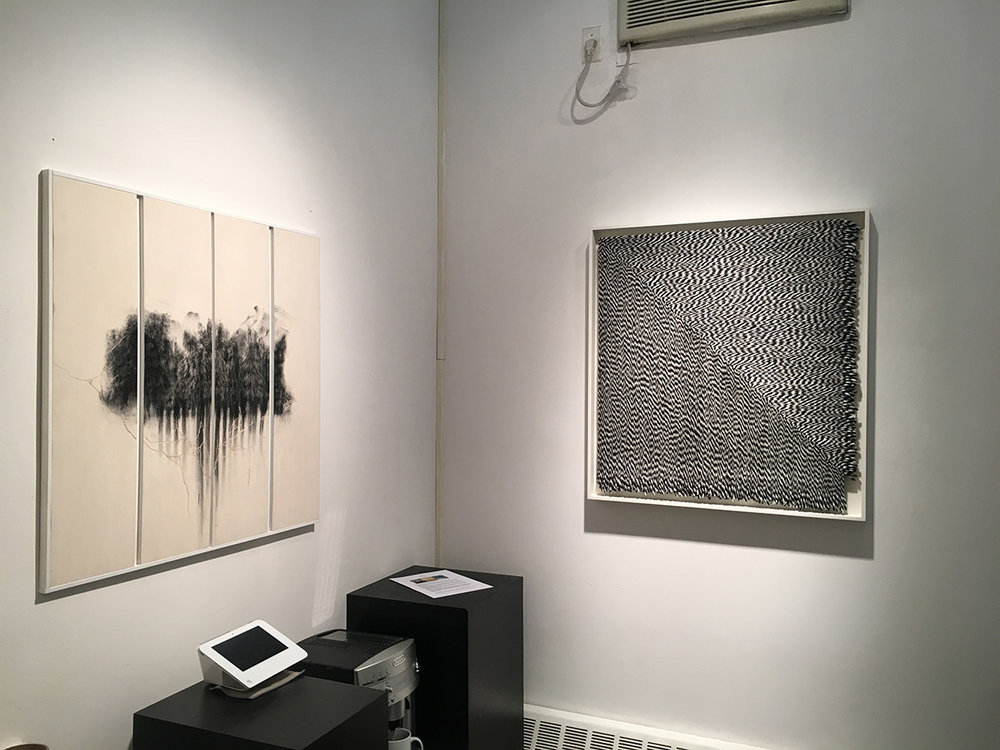 "(L-R) Giulia Dall'Olio, g 19 83 d, 2015 Oil in engraved panel, 32"" x 33.5"" Matthew Larson, Untitled, 2015 Yarn on velcro, 35"" x 32.5"""