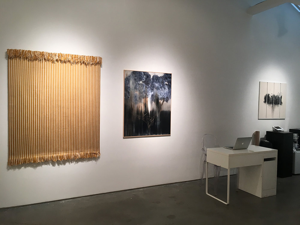 "(L-R) Matthew Larson, New Old, 2014 Yarn on velcro, 60.5"" x 48.5"" Giulia Dall'Olio, g 8 2 d, 2014 Oil in engraved panel, 43.5"" x 36"" Giulia Dall'Olio, g 19 83 d, 2015 Oil in engraved panel, 32"" x 33.5"""