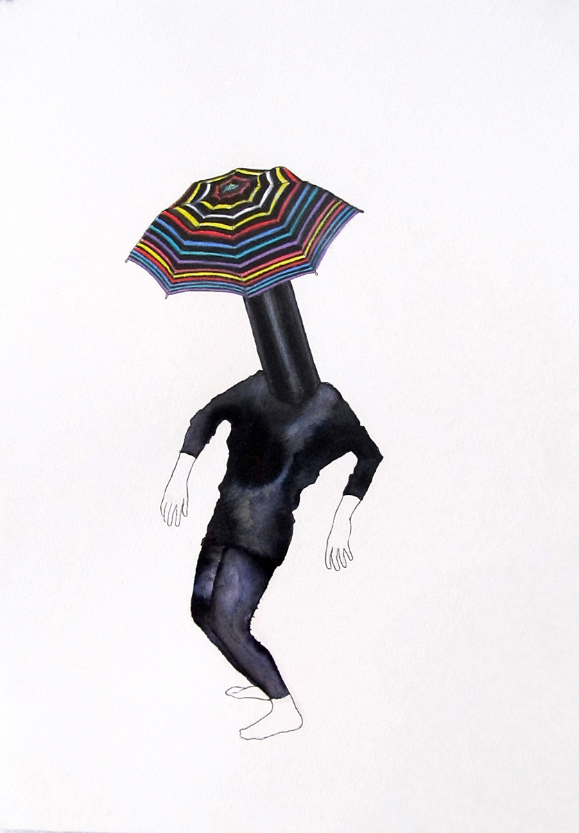 "Umbrellahead Colored pencil and ink on paper, 13"" x 9"""