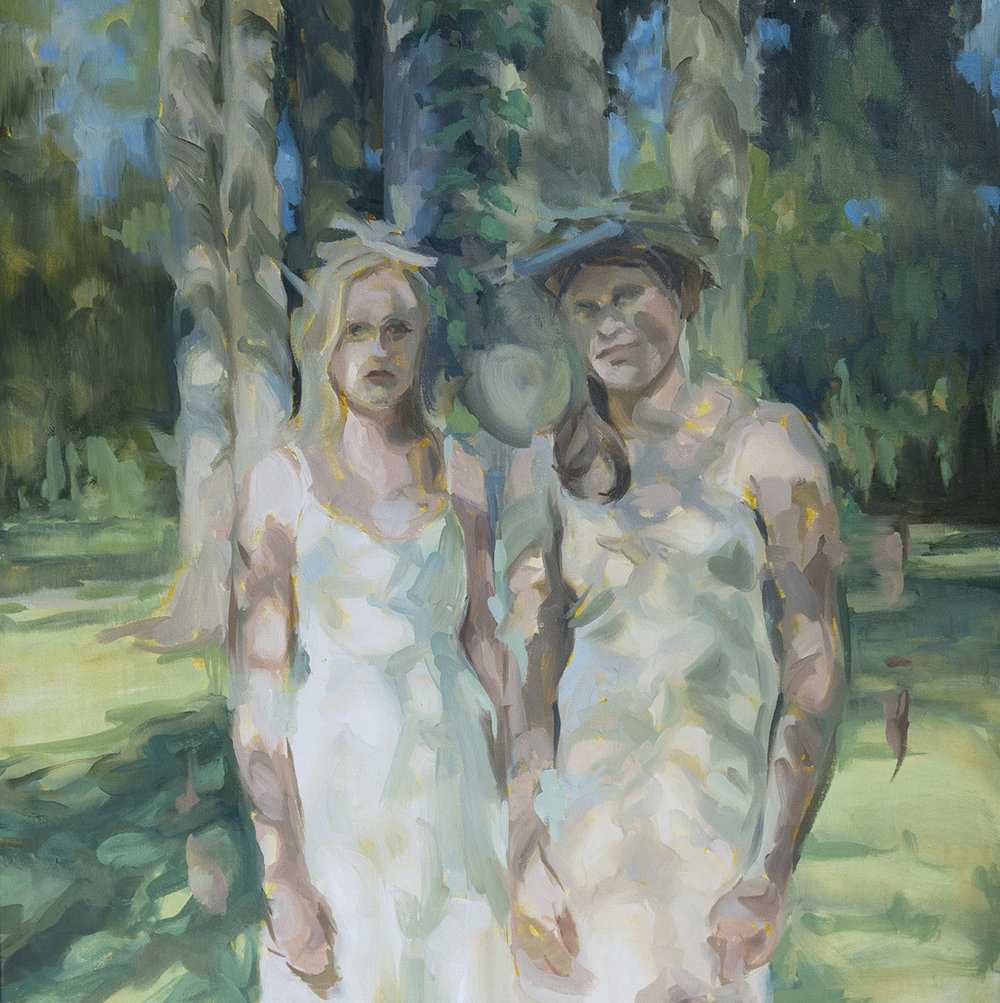 "Amanda Scuglia, Sisters, 2017 Oil on canvas, 20"" x 20"""