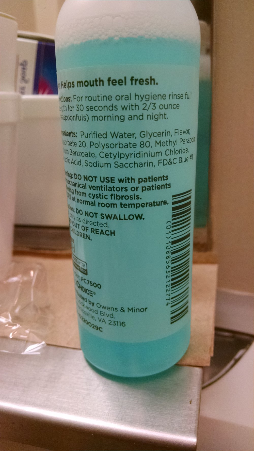 MOUTH WASH GIVEN BY HOSPITAL