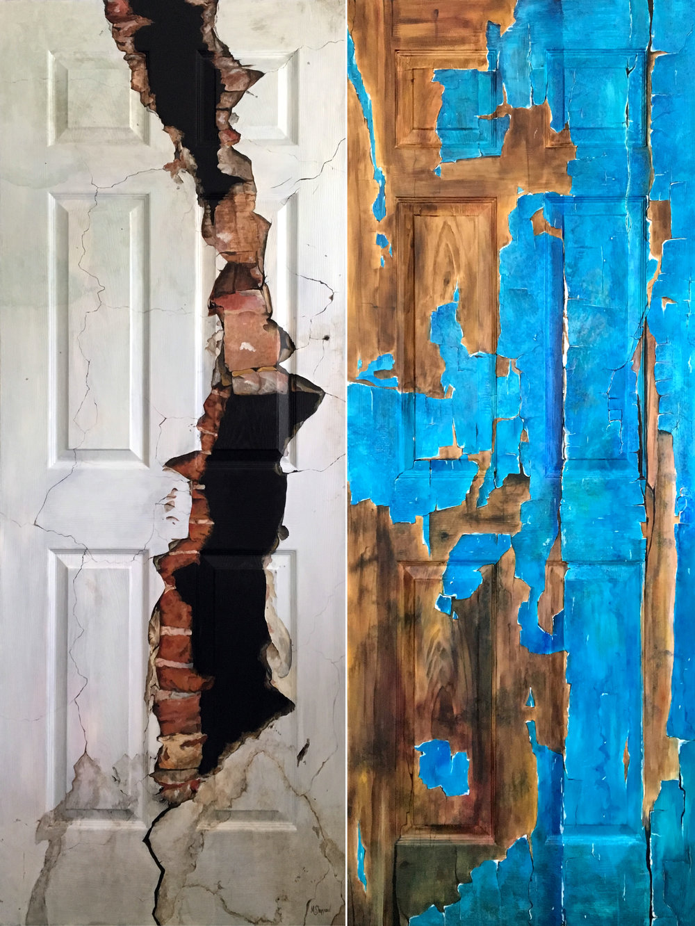 "Two sides of the same 30"" x 80"" door. I love to focus on the details. To me, all the tiny lines and shadows that come together to form something vivid and realistic is immensely satisfying. I invite the viewer to narrow their focus and see the beauty in things that might have otherwise been overlooked."