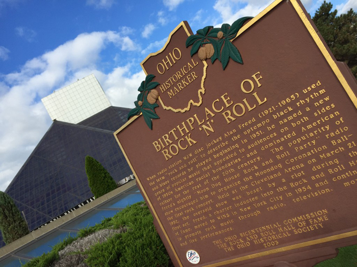 """A marker outside the Rock and Roll Hall of Fame talks about where the phrase """"Rock And Roll"""" came from. via billontheroad"""