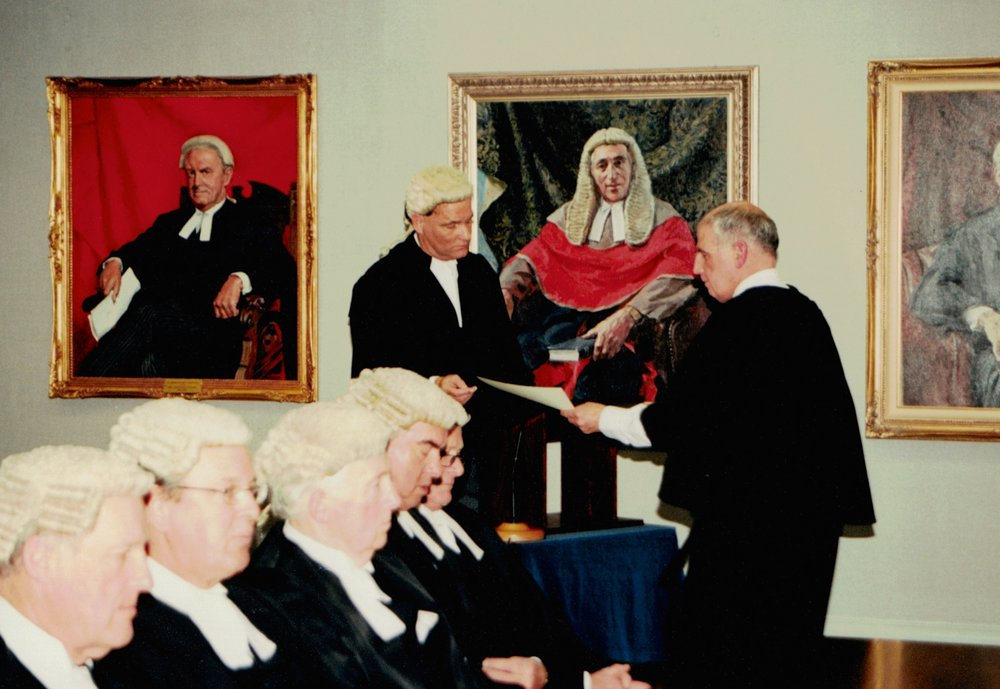 Dr Stevens QC being called to the Inner Bar at the Wellington High Court on 19 June 2002