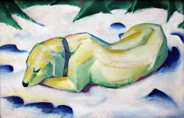 Franz Marc, Dog Lying in the Snow, 1910-11
