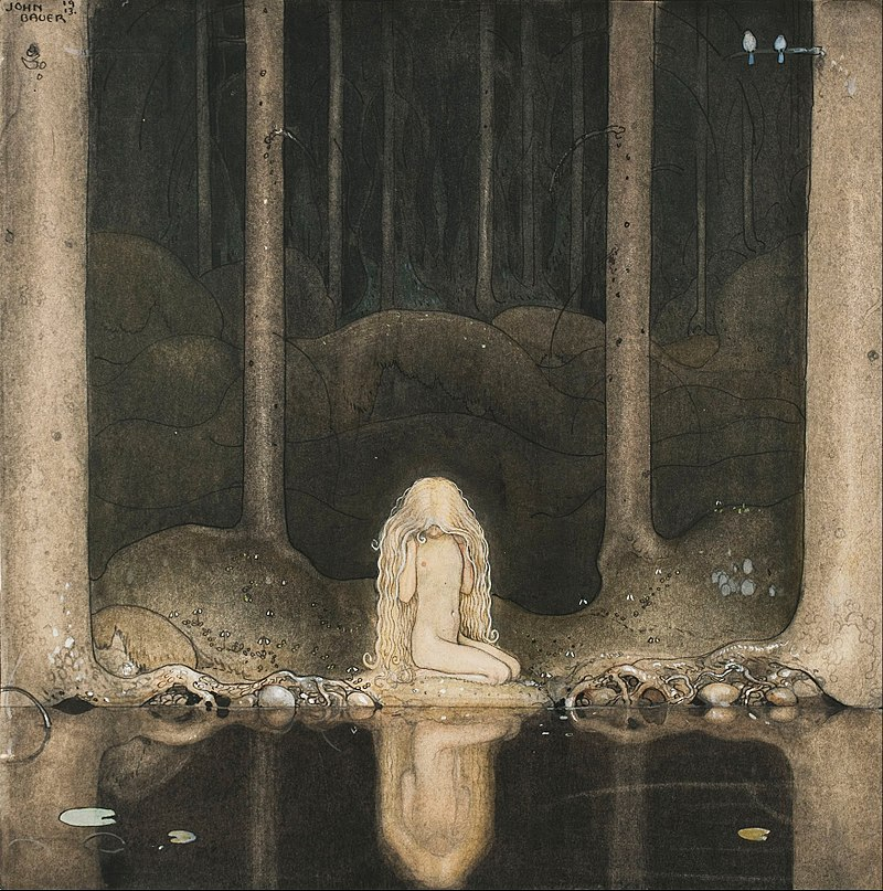Ännu sitter Tuvstarr kvar och ser ner i vattnet  (Still, Tuvstarr sits and gazes down into the water) | John Bauer, 1913 Image courtesy of Wikimedia Commons