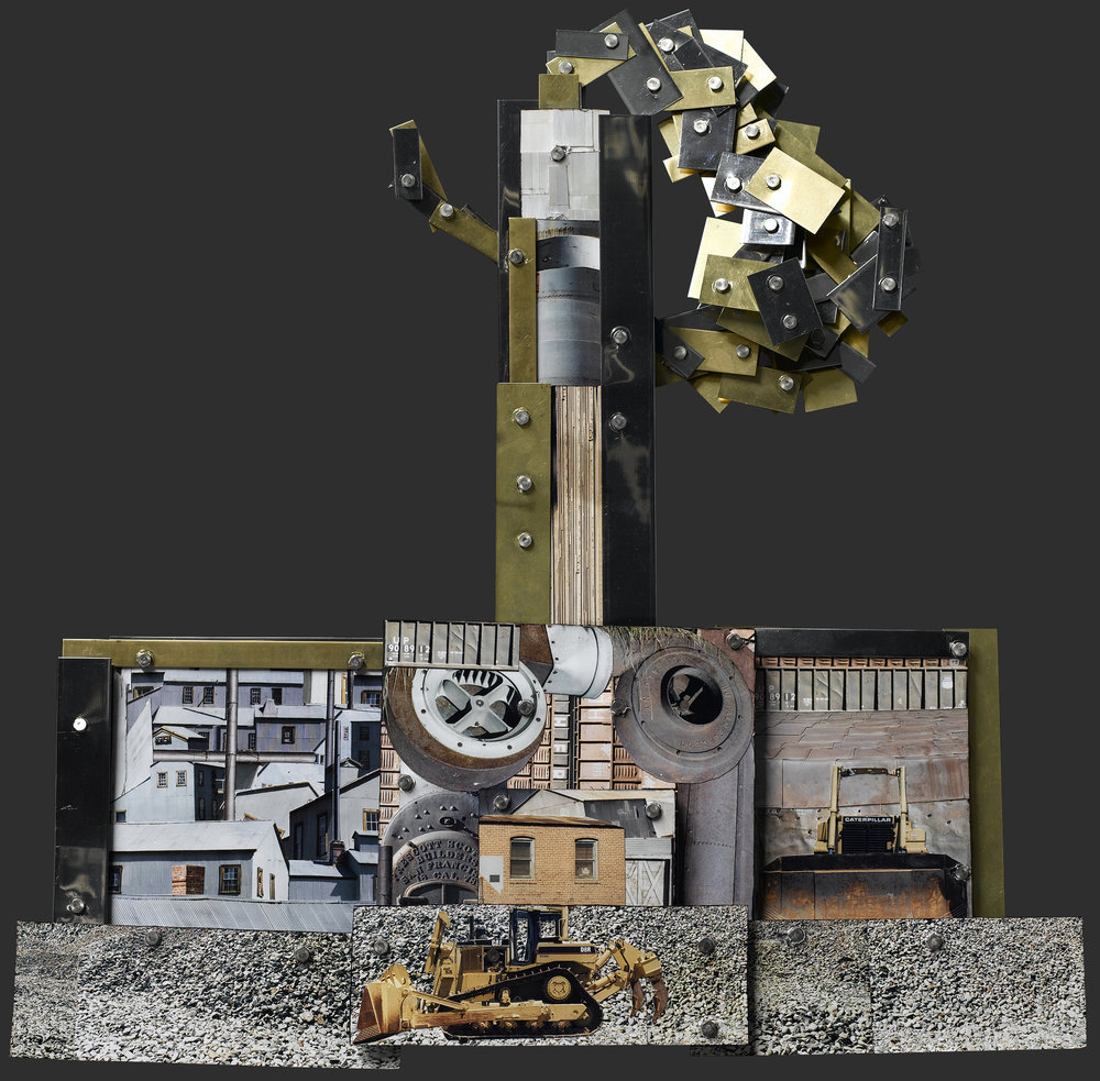 "A Small Factory . Mixed Media Collage, 20.5 x 19 x 2.25"", 2006."