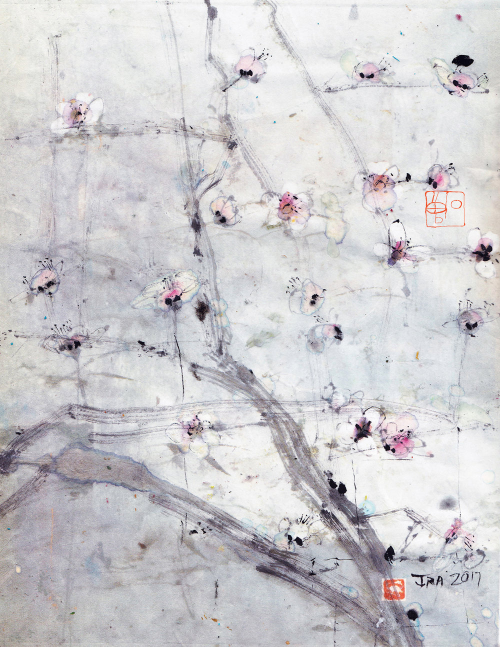 Sparse plum blossoms , 8.5 x 11 in., ink and watercolor on rice paper.