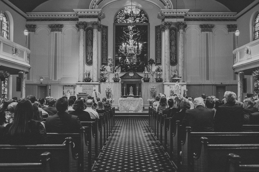 Wedding Ceremony for wedding in Philadelphia Pennsylvania at Old St. Mary's Church and Building BOK