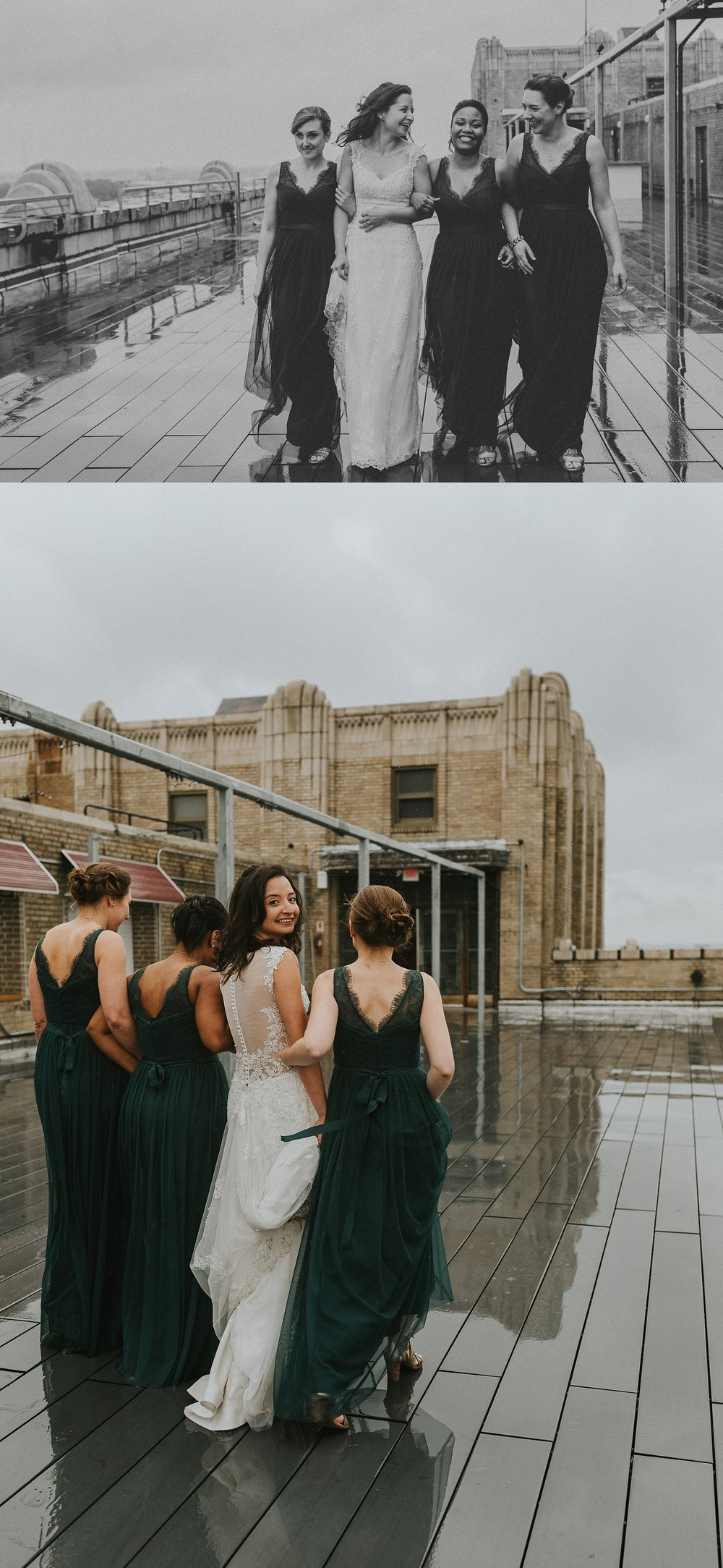 Bridesmaids for wedding in Philadelphia Pennsylvania at Old St. Mary's Church and Building BOK