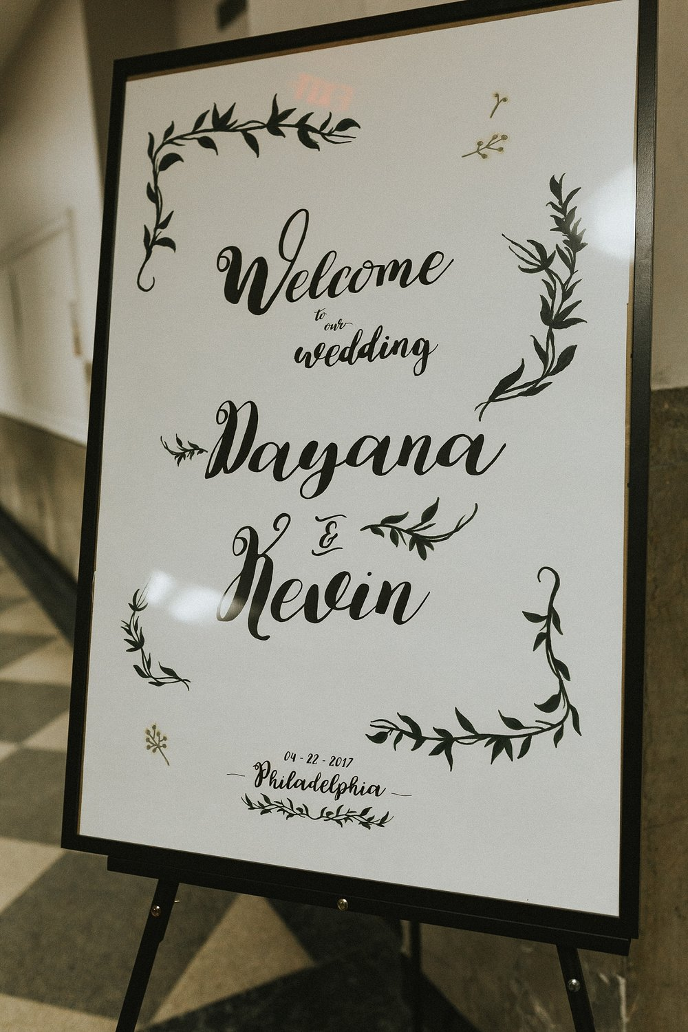 Wedding Welcome Sign for wedding in Philadelphia Pennsylvania at Old St. Mary's Church and Building BOK
