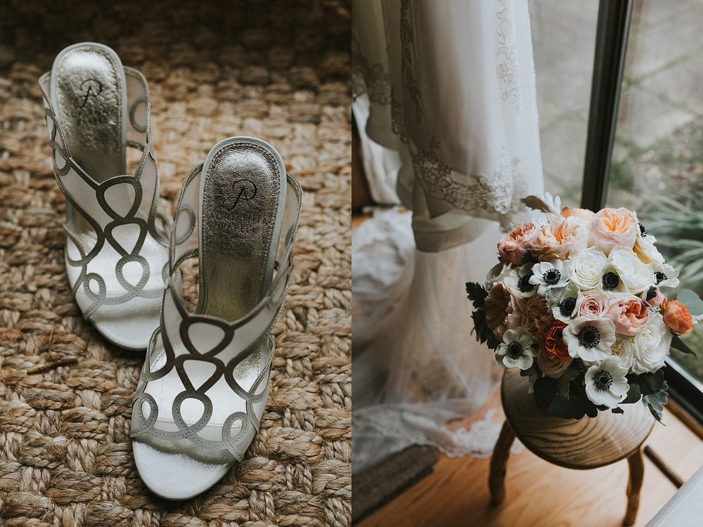Bridal Shoes and Bridal Bouquet for wedding in Philadelphia Pennsylvania at Old St. Mary's Church and Building BOK