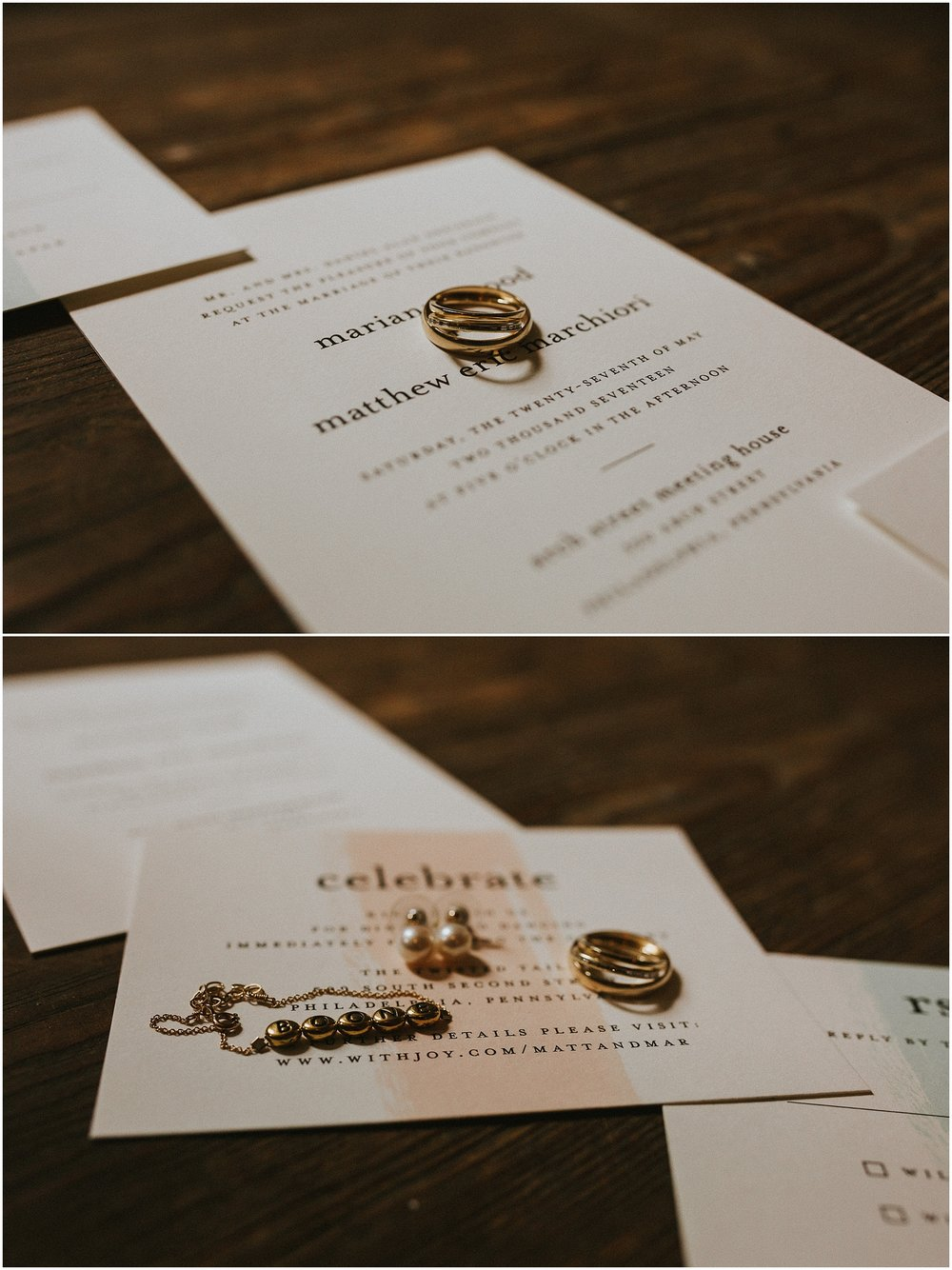 Bridal jewelry styled against pastel colored wedding invitations at the Arch Street Meeting House in Philadelphia Pennsylvania