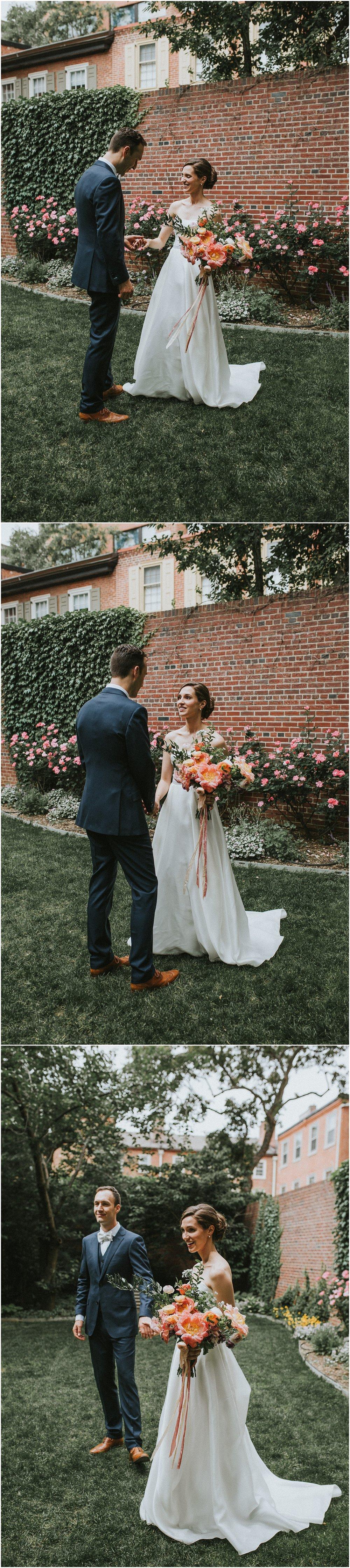 Bride and Groom Portraits strolling around Philadelphia Pennsylvania