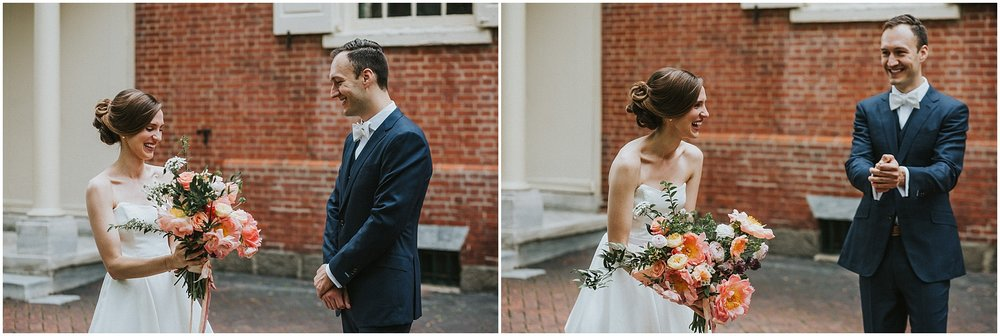 Bride and Groom excited first look at Arch Street Meeting House in Philadelphia Pennsylvania