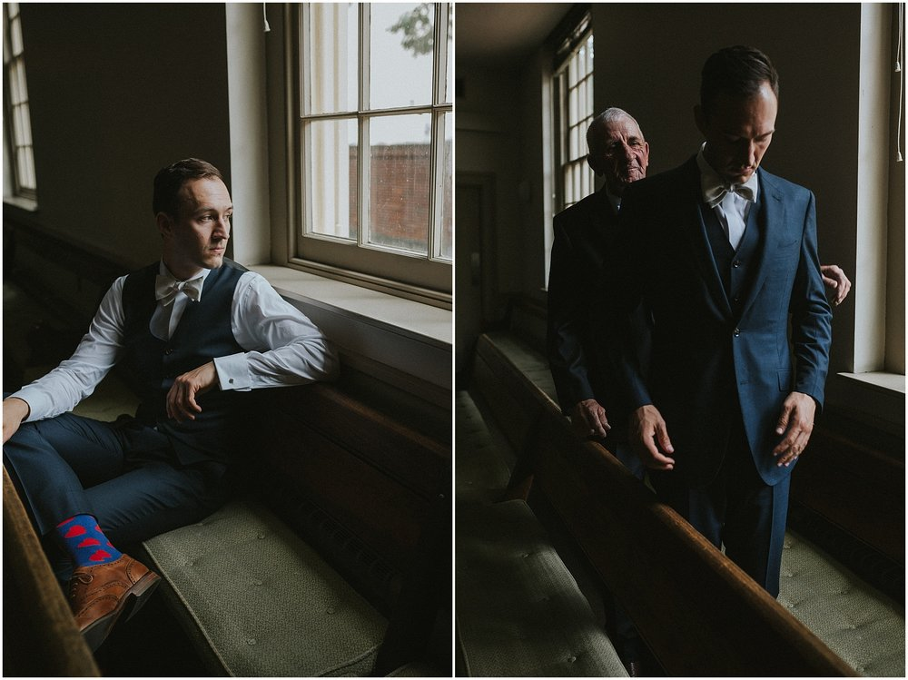 Groom Portraits and getting ready at Arch Street Meeting House in Philadelphia Pennsylvania