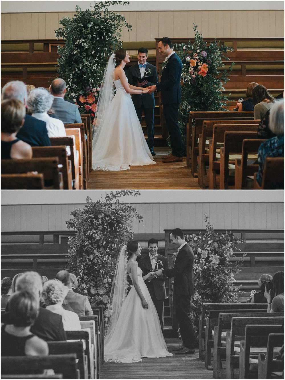 Wedding ceremony at Arch Street Meeting House in Philadelphia Pennsylvania