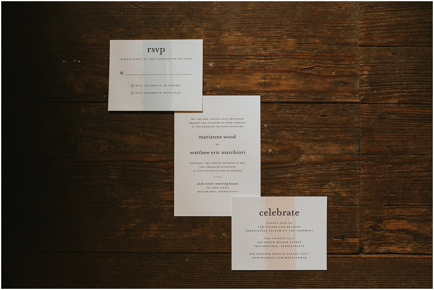 Matt marianne arch street meeting house twisted tail pastel colored wedding invitations at the arch street meeting house in philadelphia pennsylvania monicamarmolfo Choice Image