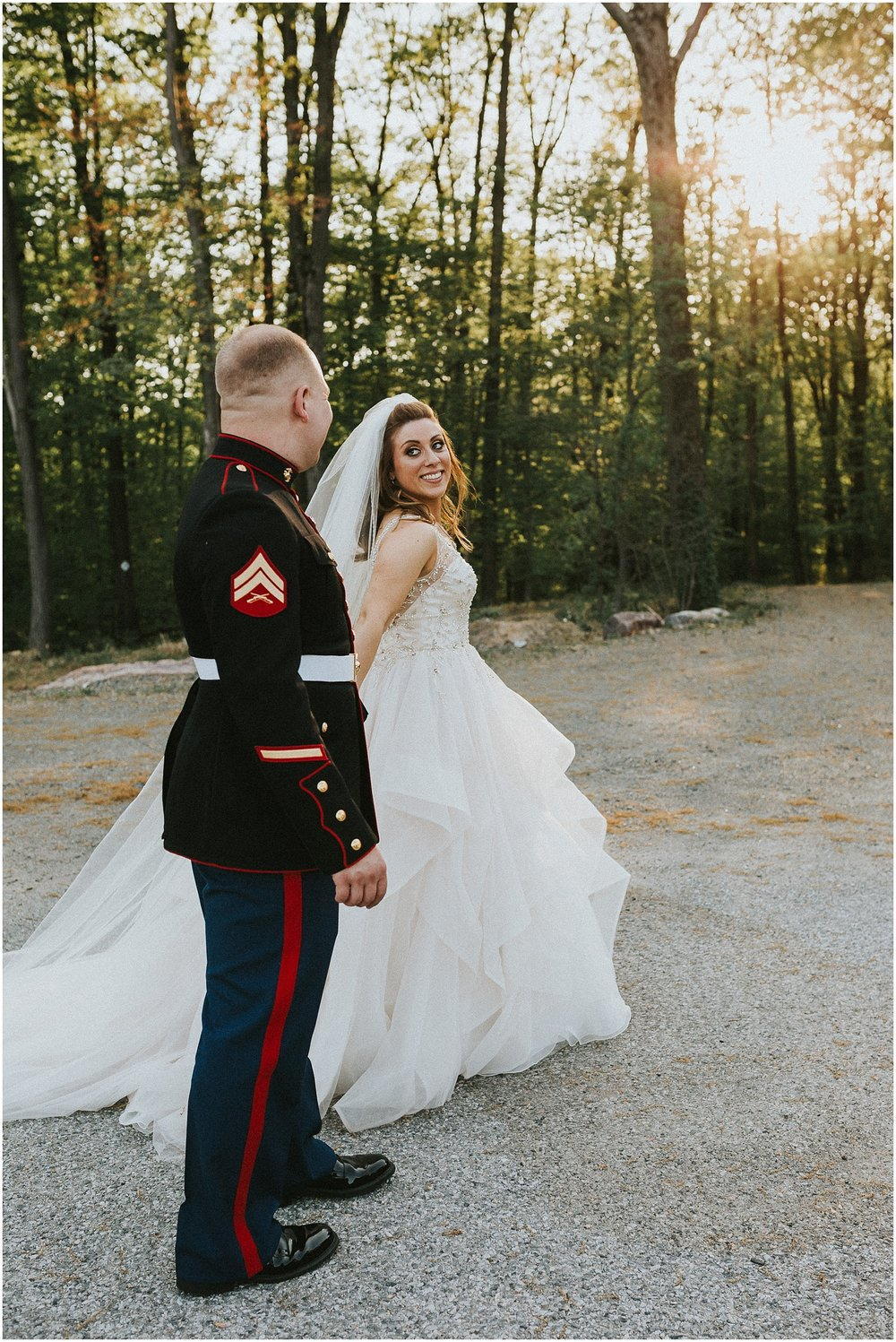 Romantic sunset Bride and Groom Portraits at Rock Island Lake Club in New Jersey
