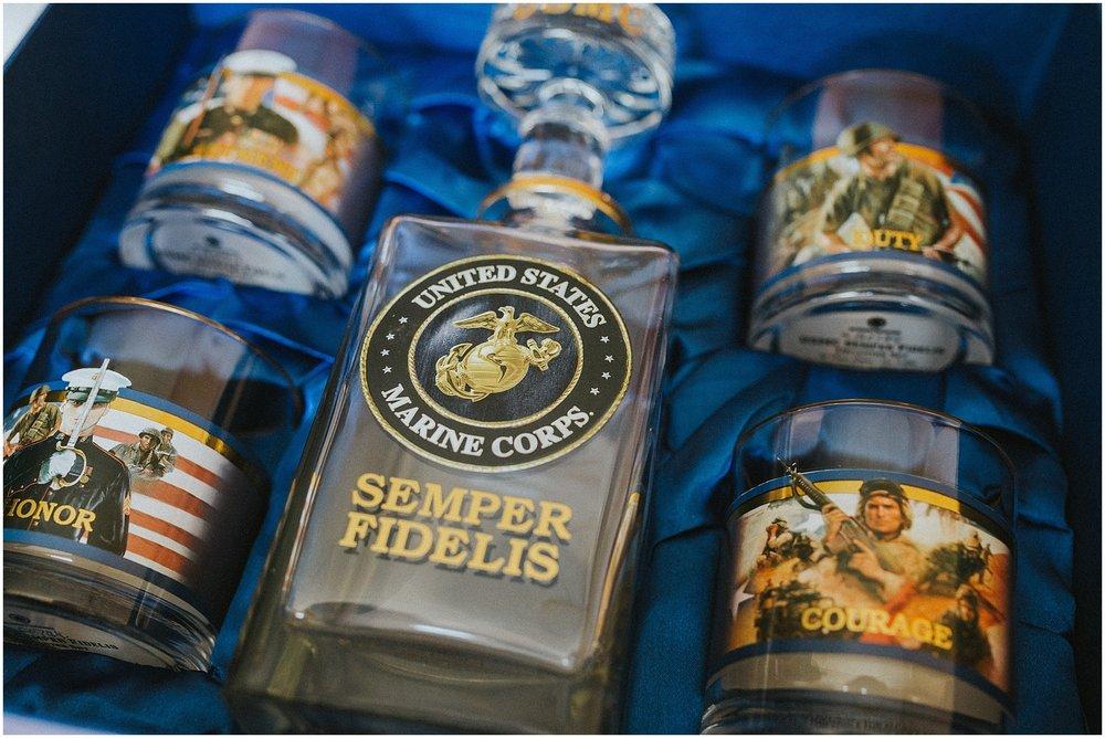Sentimental groom gift of Marine Corp Semper Fidelis drinking set