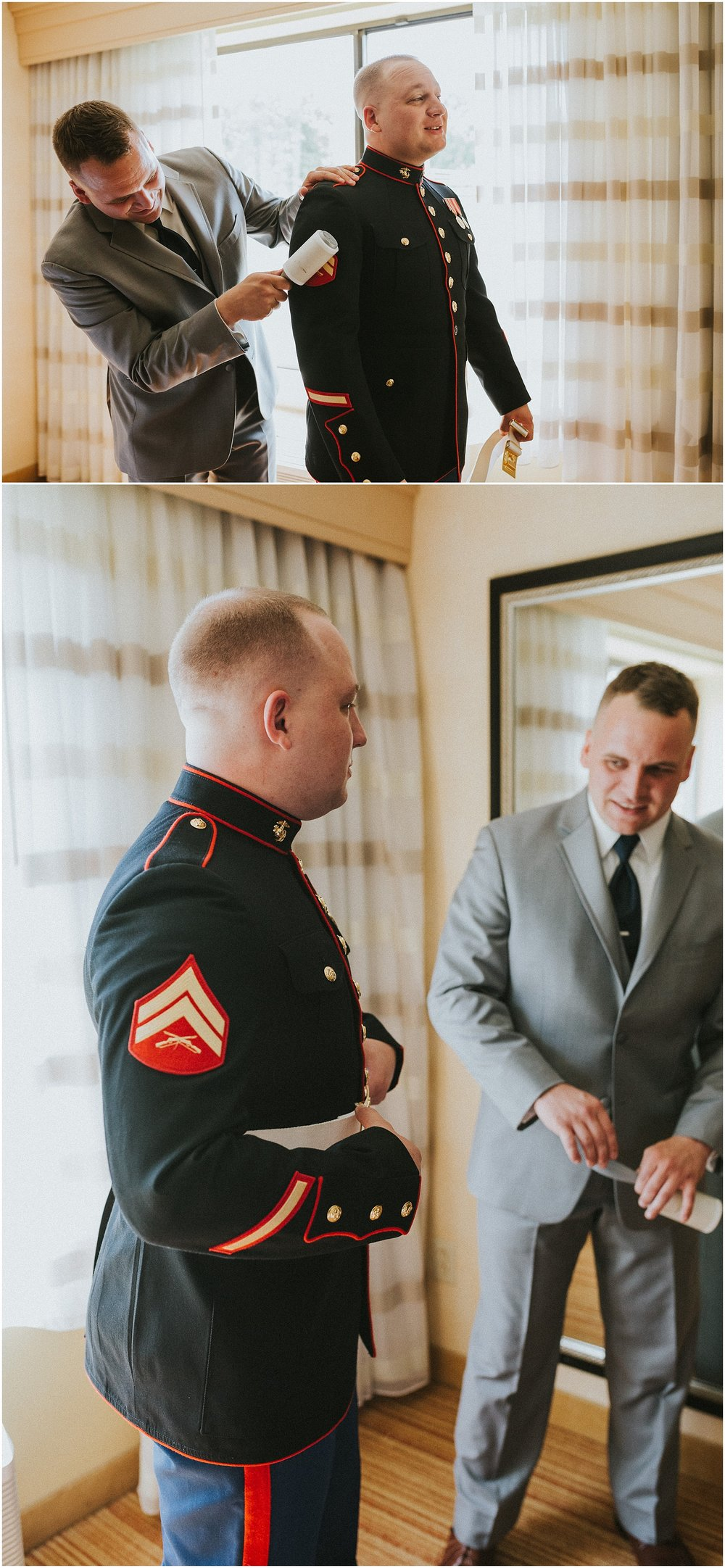 Marine Corp Groom getting ready for his wedding with his brother