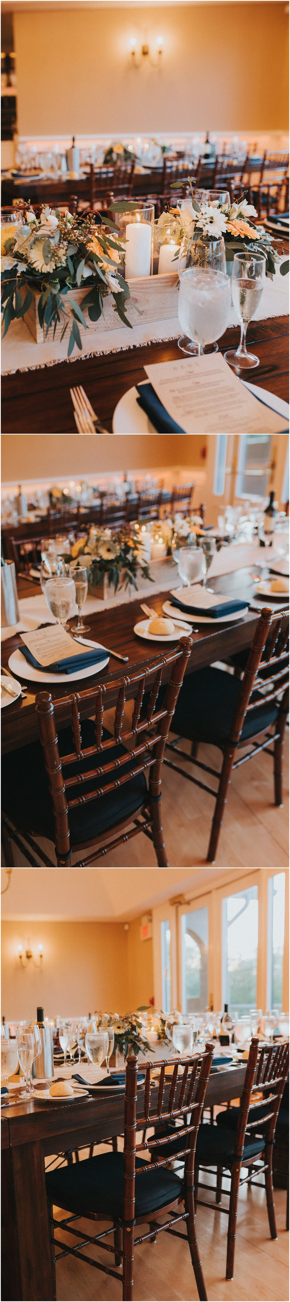 Wedding reception details at Rock Island Lake Club in New Jersey