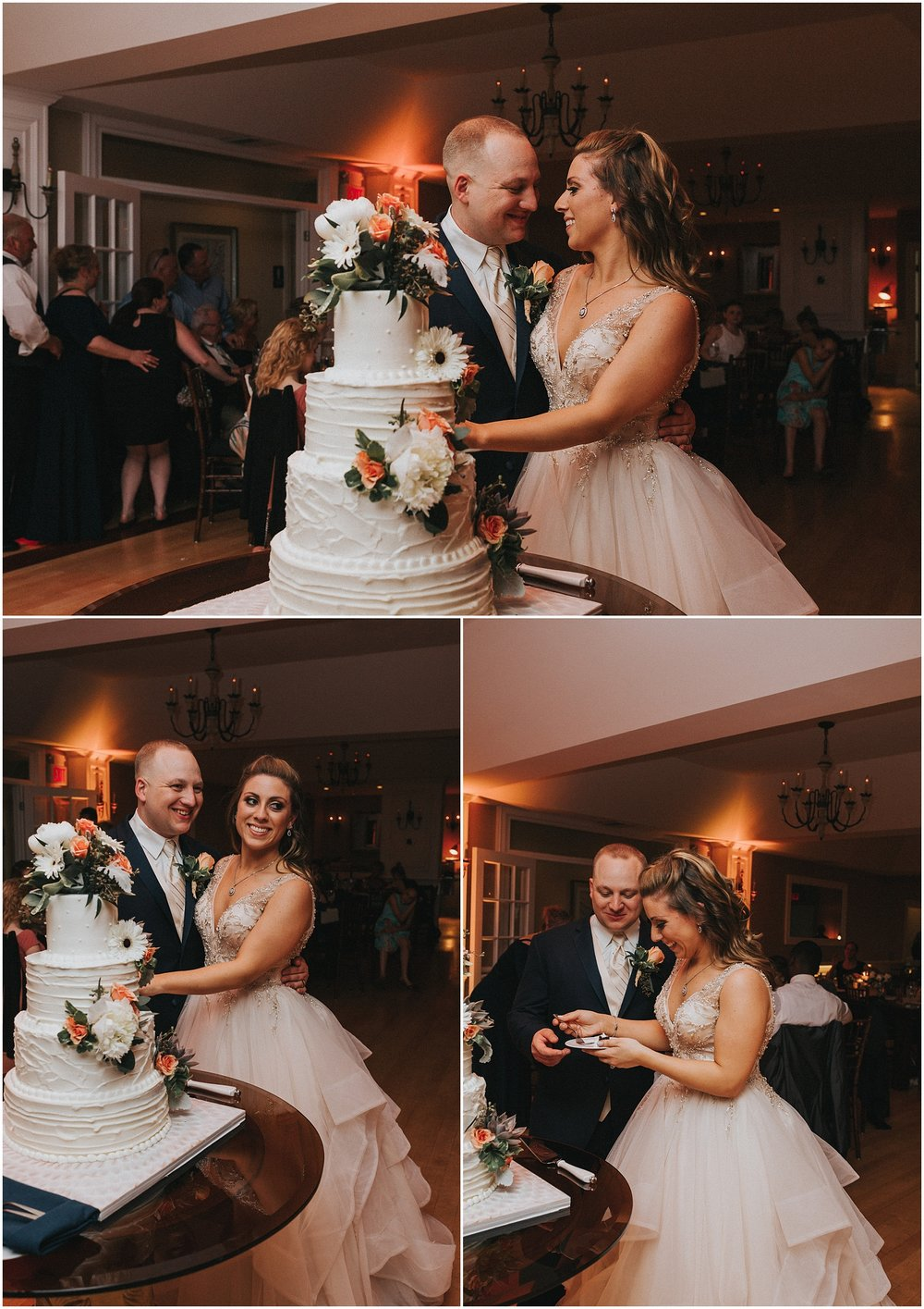 Bride and Groom cake cutting during wedding reception at Rock Island Lake Club in New Jersey