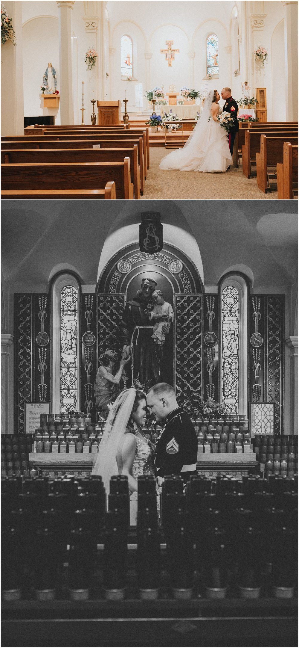 Bride and Groom portraits in a Catholic Church
