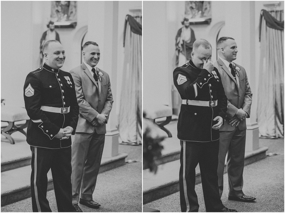 Marine Corp Groom seeing his Bride during their wedding ceremony for the first time