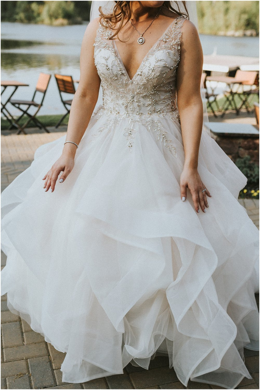 Photo of a Bride's dress at Rock Island Lake Club in New Jersey