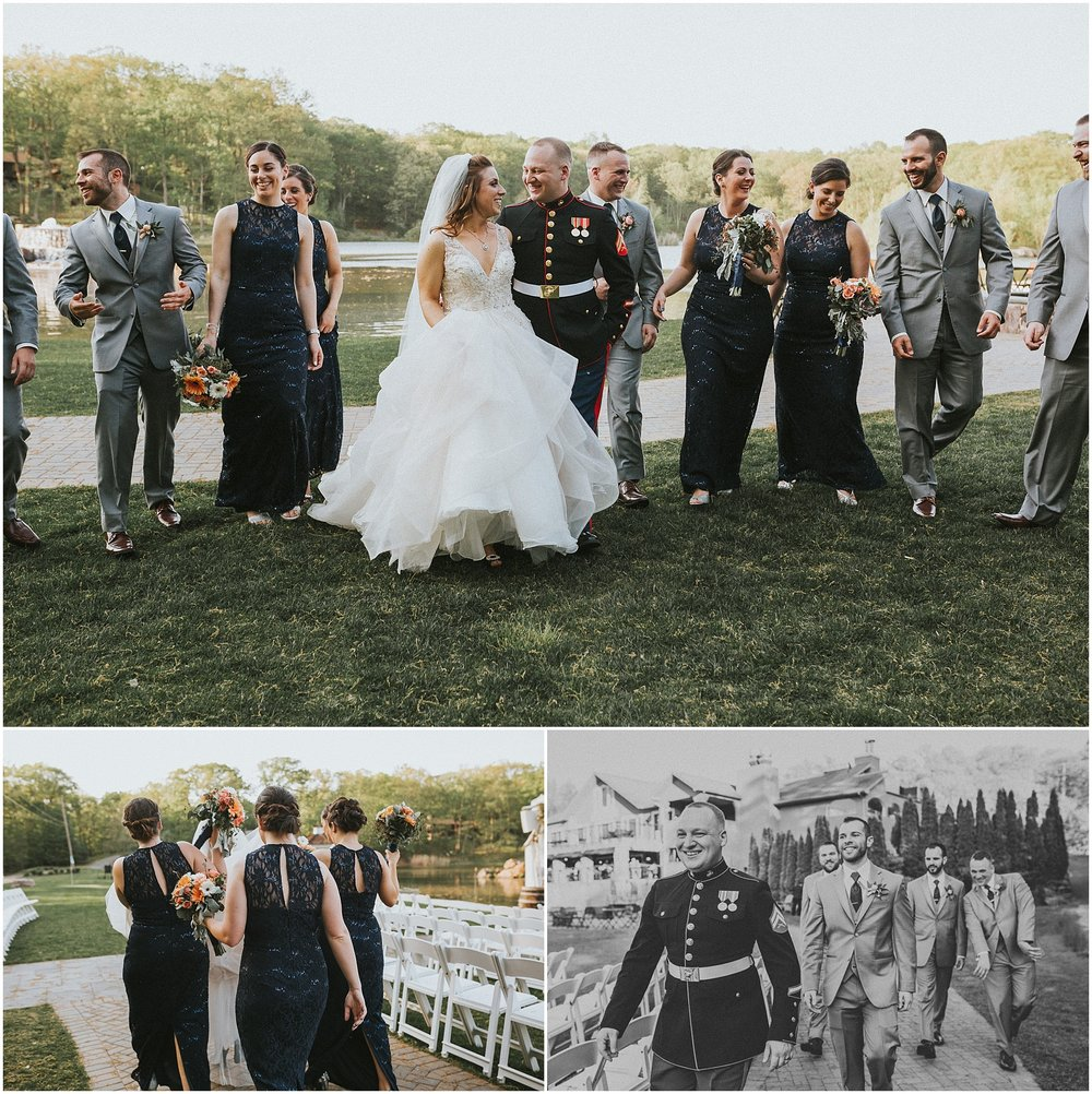 Fun light hearted wedding party photos at Rock Island Lake Club in New Jersey