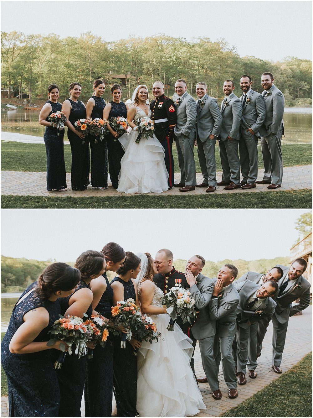 Fun light hearted wedding party photos at Rock Island Lake Club