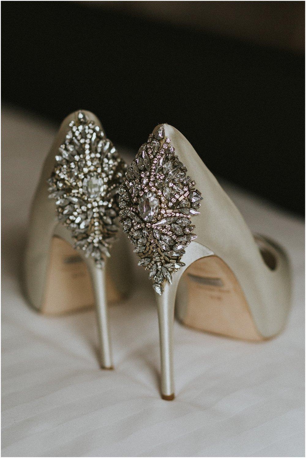 Badgley Mischka diamond wedding shoes at The Historic Acres of Hershey in Hershey Pennsylvania