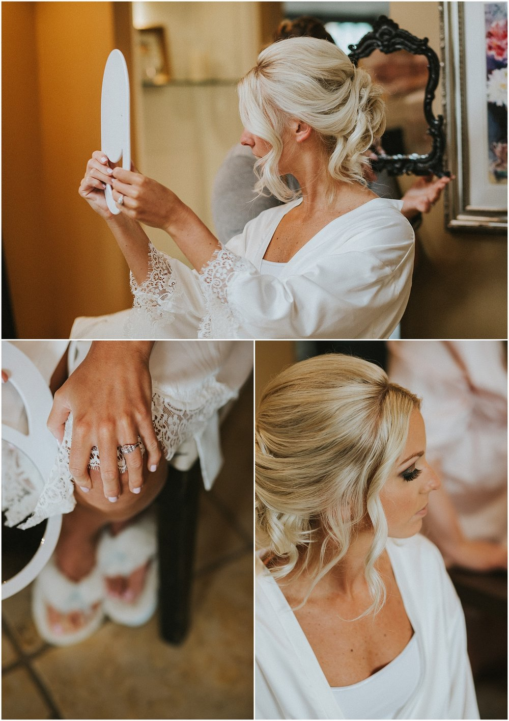 Bride enjoys getting ready for her wedding in historic farmhouse at The Historic Acres of Hershey in Hershey, Pennsylvania