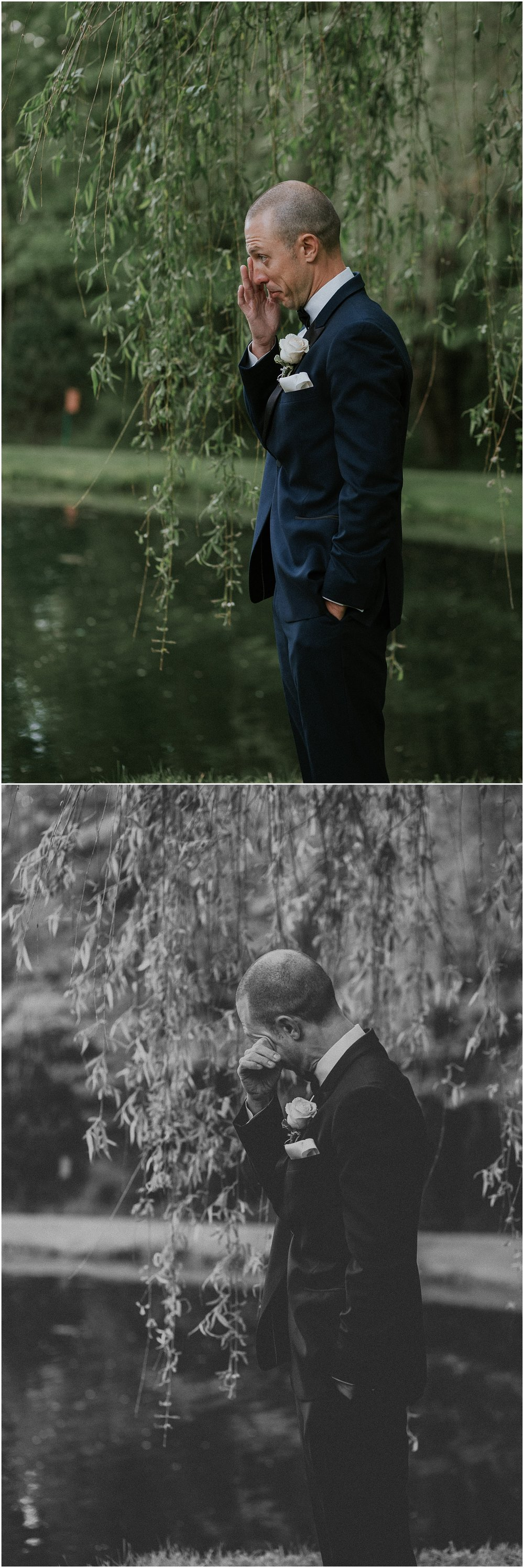 Bride and Groom share emotional and tender first look under romantic willow tree at The Historic Acres of Hershey in Hershey Pennsylvania