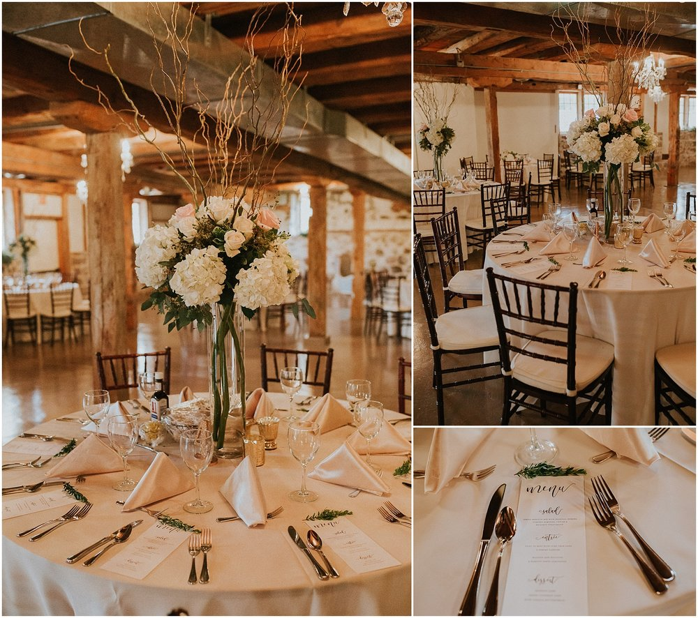 Wedding decorations in gold and pink beautifully decorate wedding reception at The Historic Acres of Hershey in Hershey, Pennsylvania