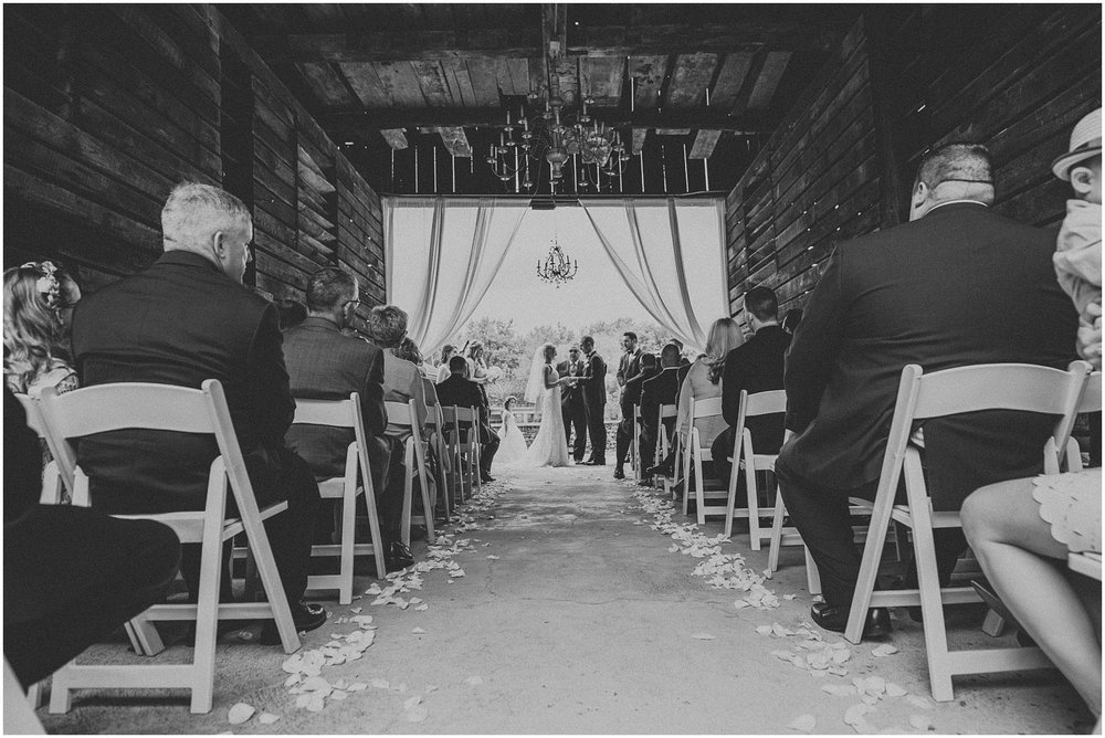 Wedding ceremony in the corn crib at The Historic Acres of Hershey in Hershey Pennsylvania