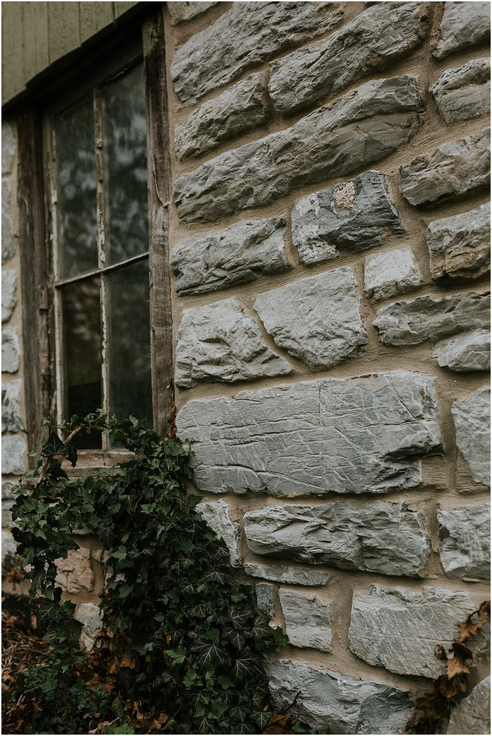 Stone wall with ivy at historic farmhouse and barn at The Historic Acres of Hershey in Hershey Pennsylvania