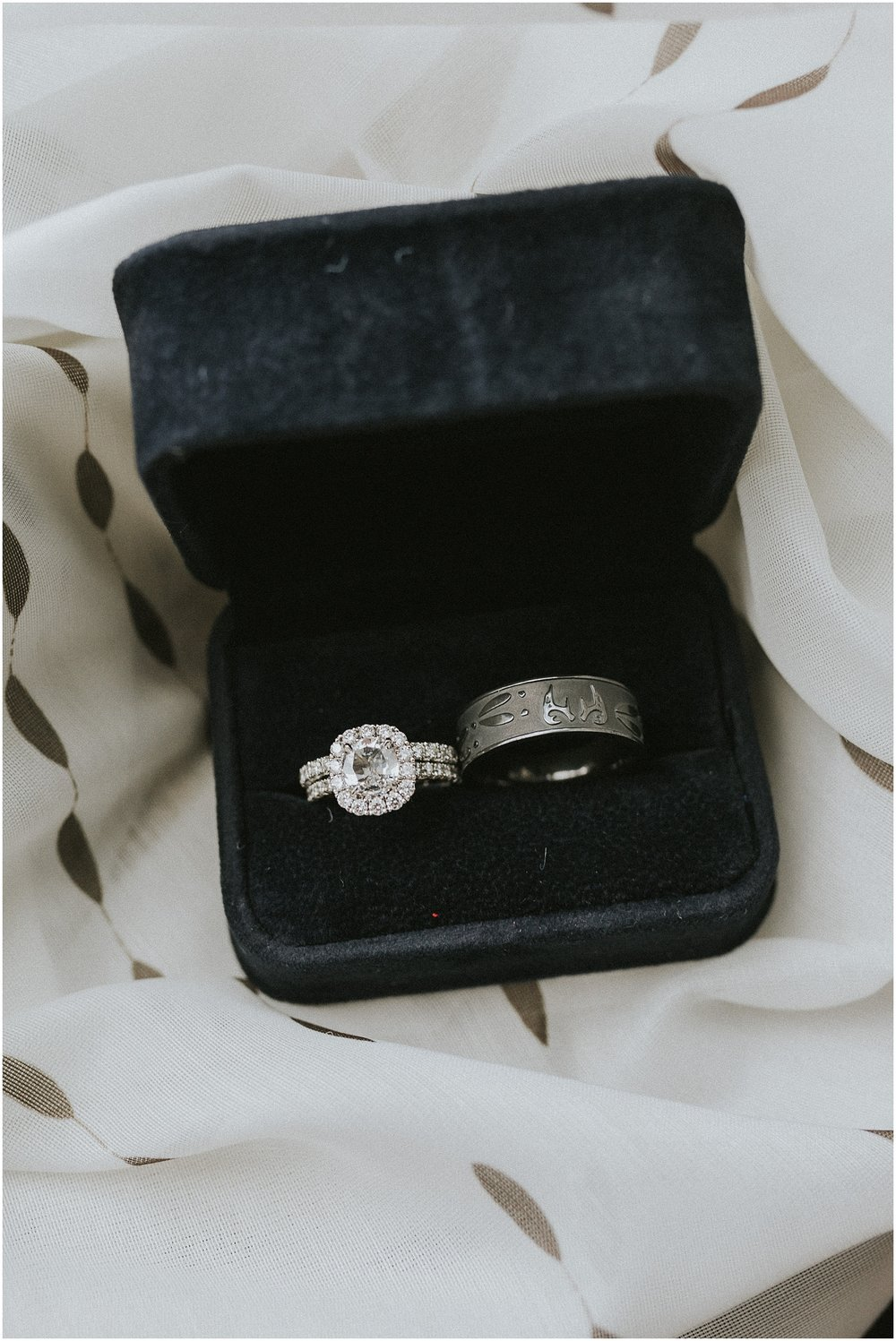 Large and sparkly diamond engagement and wedding rings