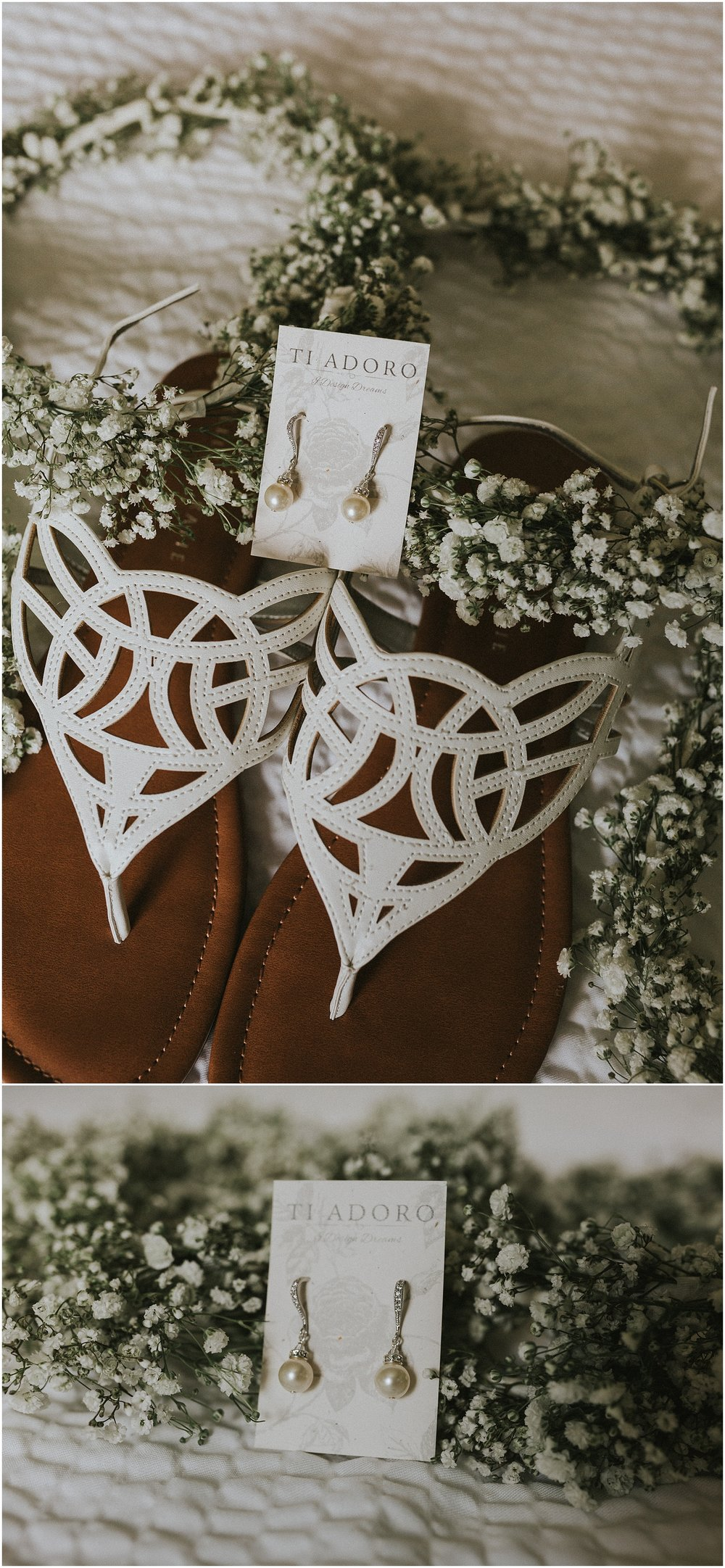 Bridal details styled with baby's breathe