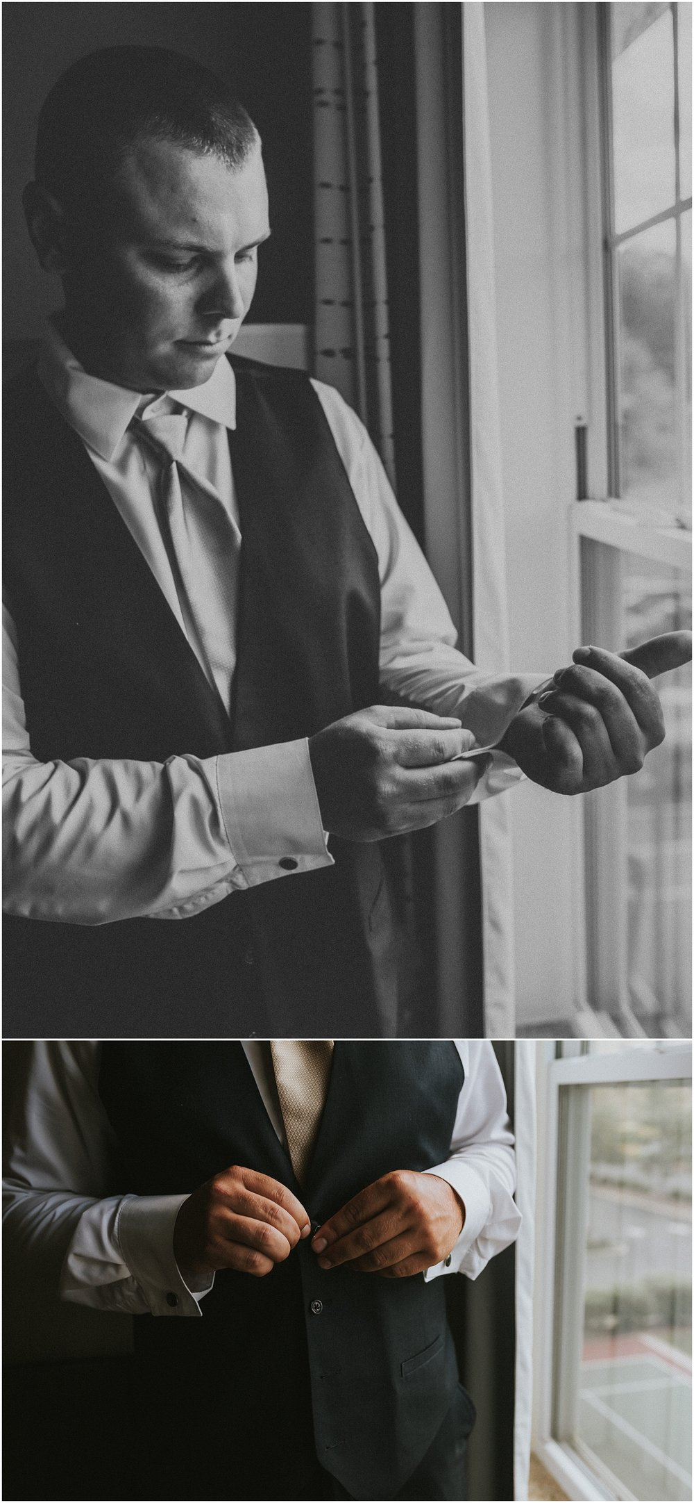 Moody groom portraits before wedding