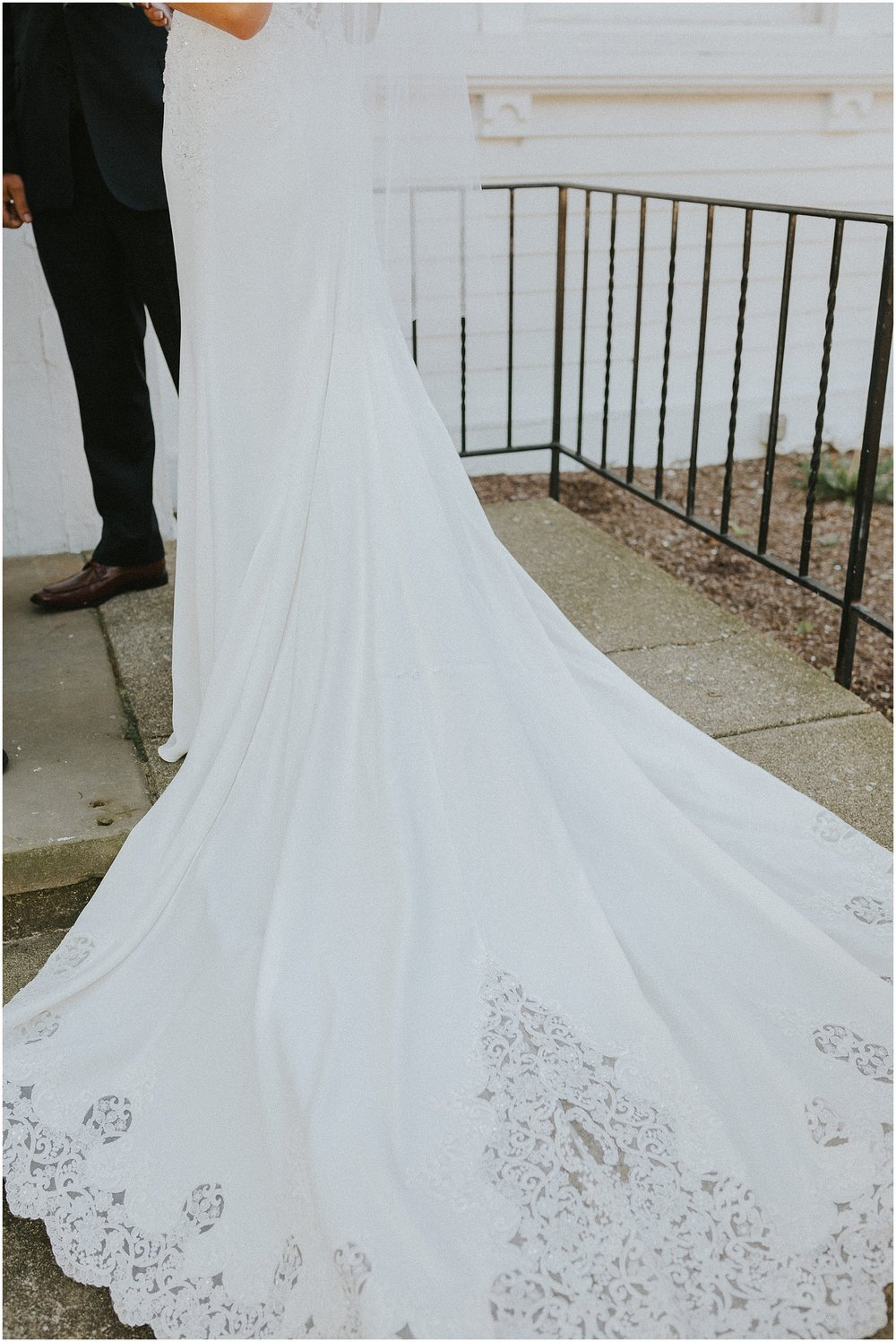 Fluffed out lace embellished wedding dress train