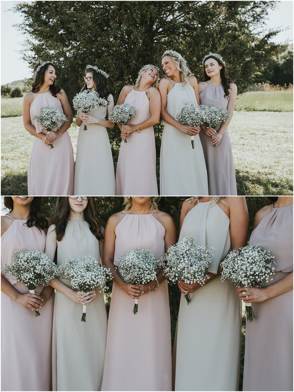 Pastel colored Bridesmaid dresses with bouquets of baby's breathe