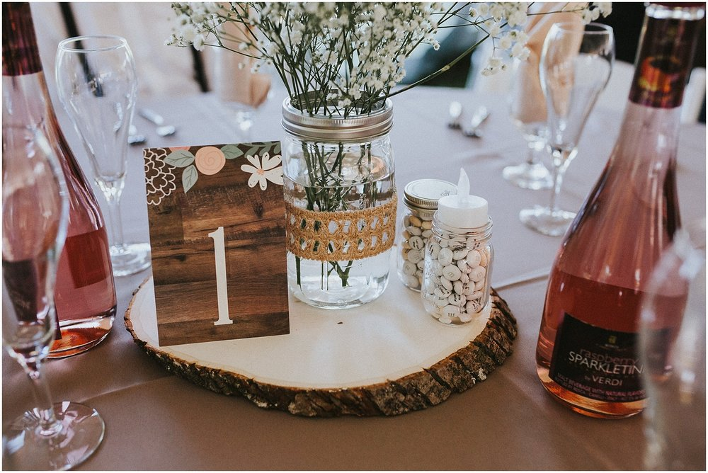 Country and rustic themed inspired wedding reception details