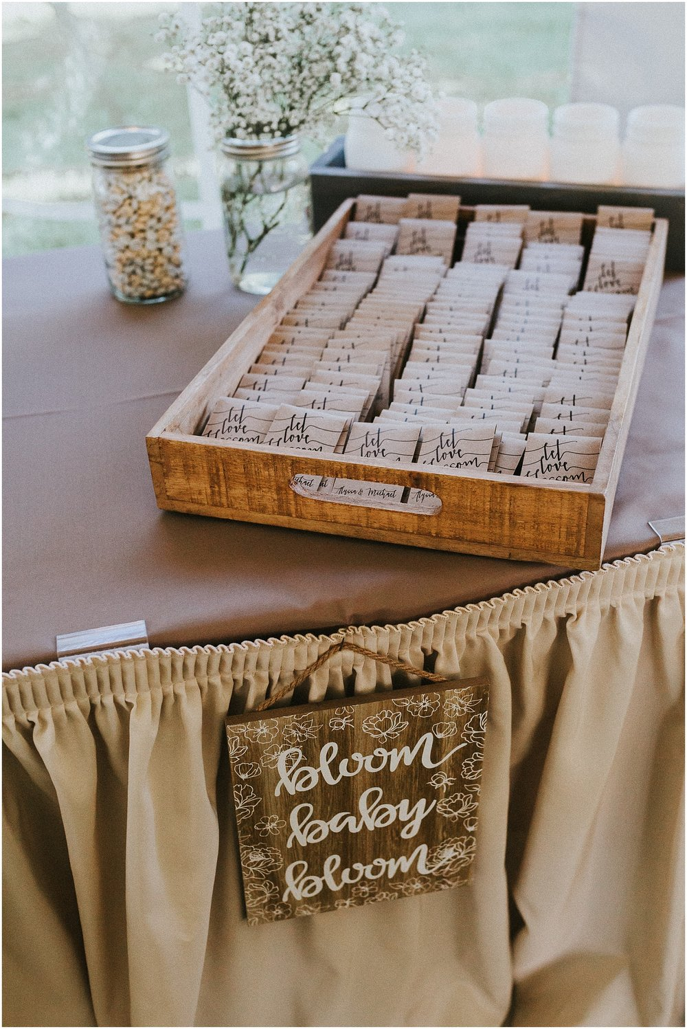Plant and flower seed packets as wedding reception favors