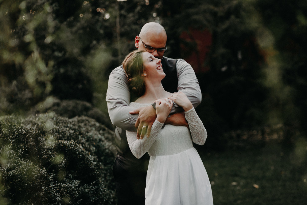 Springtime Outdoor Garden Wedding Bride and Groom Photos