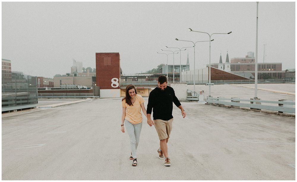 Summer sunrise Parking Garage Rooftop Engagement Session in Lancaster Pennsylvania_0134.jpg